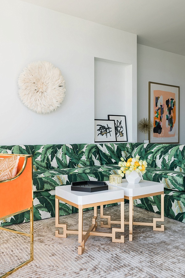 Banana leaf sofa and Worlds Away coffee tables, @waitingonmartha