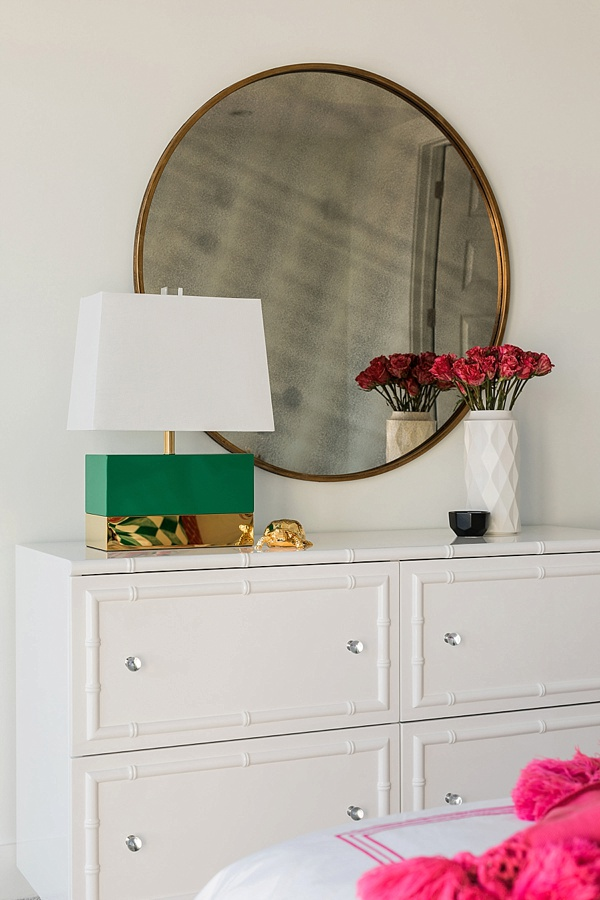 White bamboo dresser, round mirror and green lamp, @waitingonmartha