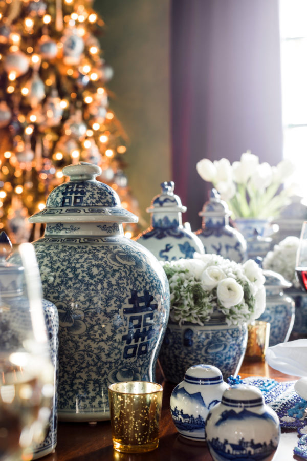 Blue and white ginger jars on the holiday table