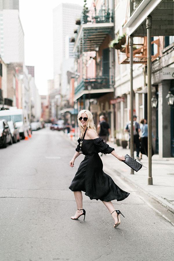 Black off the shoulder dress, @waitingonmartha
