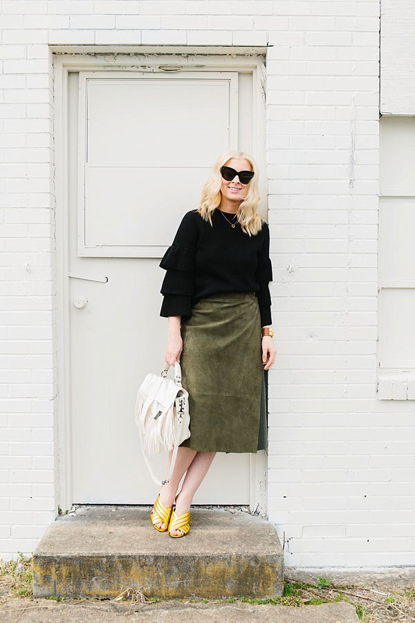 Black ruffle sweater with olive green suede midi skirt, waitingonmartha.com