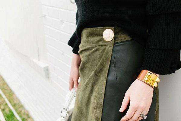 Green suede skirt, waitingonmartha.com
