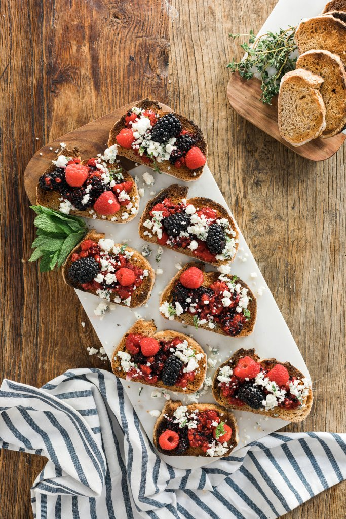 Raspberry & Blackberry Goat Cheese Crostini recipe on Waiting on Martha