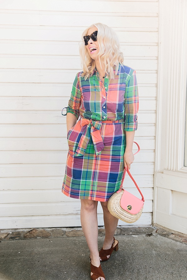 Plaid shirtdress and wicker bag from Talbots