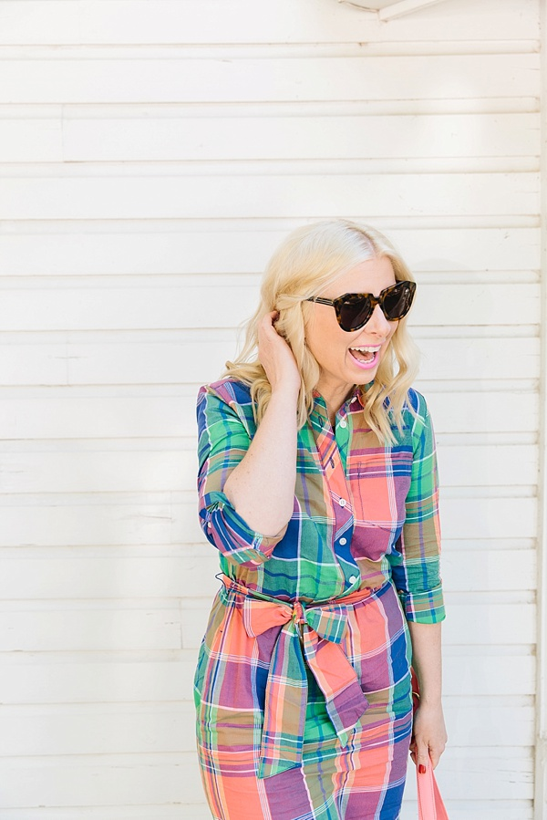 Bright and colorful shirt dress outfit