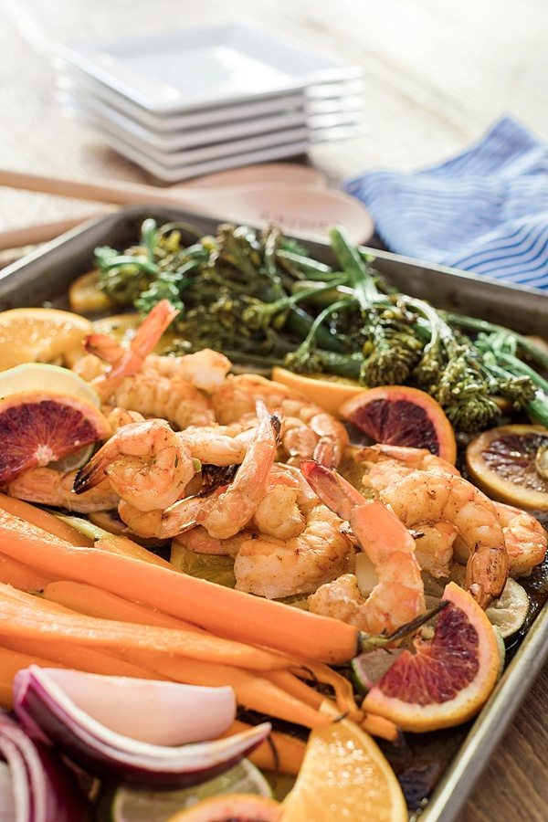 Sheet pan shrimp recipe with caramelized citrus, carrots, onions and broccolini | Waiting on Martha