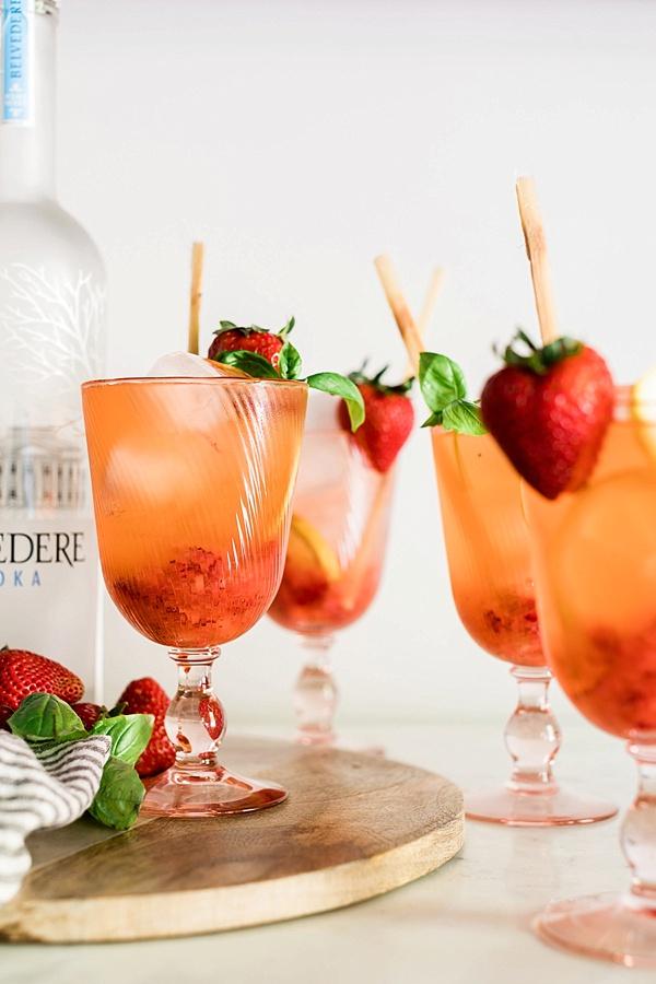 Strawberry Basil Lemonade recipe on Waiting on Martha
