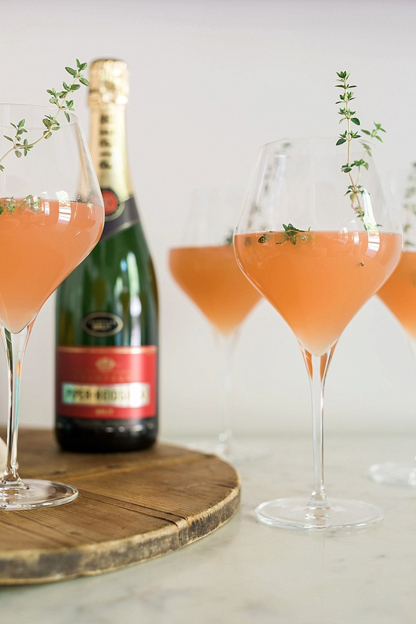 Peach Bellini with fresh thyme garnish recipe on Waiting on Martha