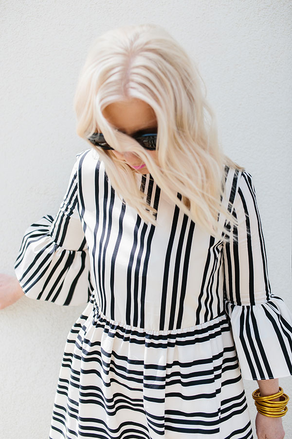 Black and white stripe dress with ruffle sleeves | Waiting on Martha