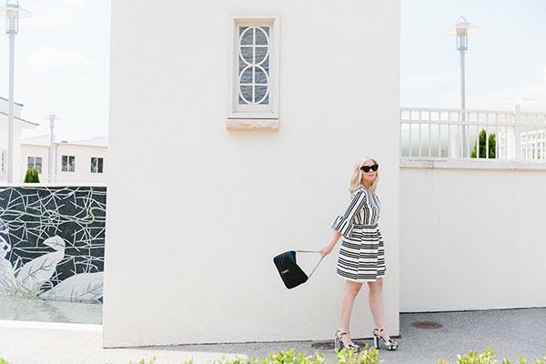 Black and white stripe dress with ruffle sleeves outfit on Waiting on Martha