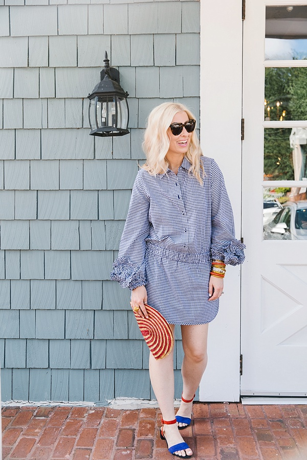 Blue gingham romper with long sleeves, Waiting on Martha