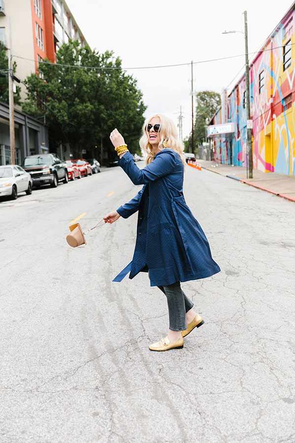 Blue silk trench coat with jeans and flats