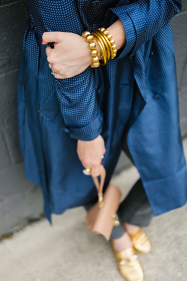 Blue silk trench coat from J.Crew