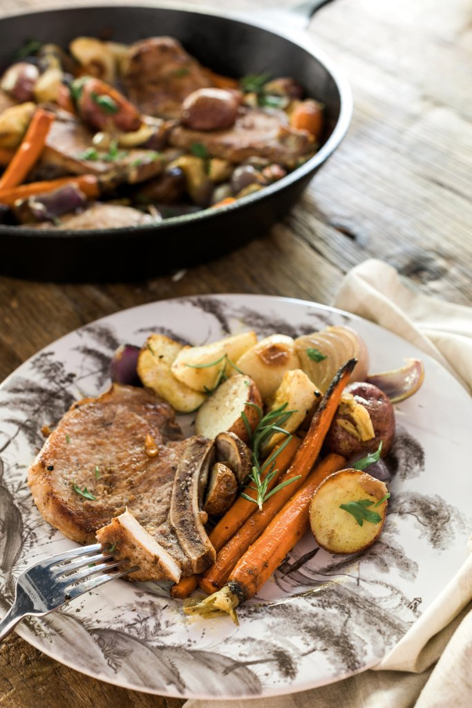 Pan Fried Apple Pork Chops with Root Vegetables & Potatoes
