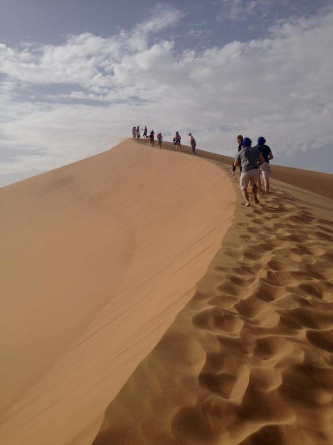 Morocco- walking up the sand dune