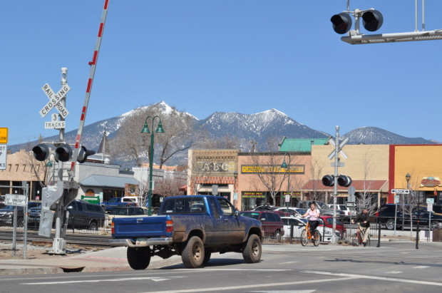 The town defined--Route 66, the Mountain, 4x4 truck, and the tracks