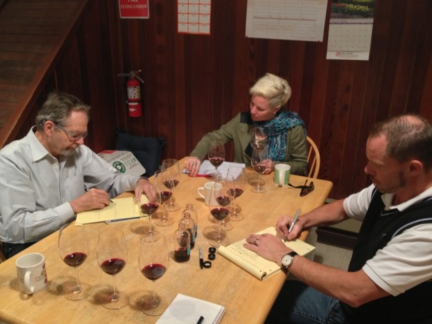 Doing blind tasting trials of the 2011 Estate blend