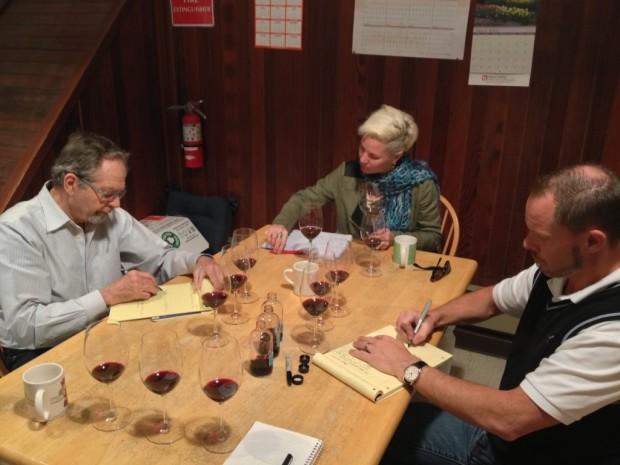 Doing blind tasting trials of the 2011 Estate blend
