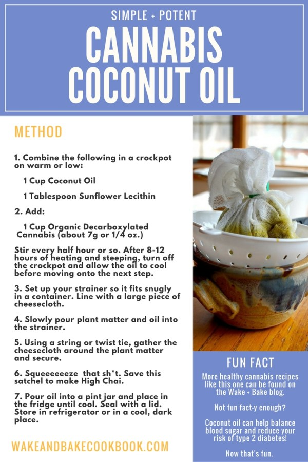 cannabis coconut oil recipe card