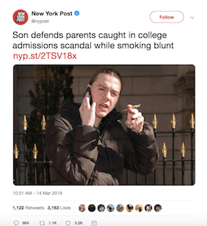 """""""Rapper"""" Son of Parents In College Cash For Places Scandal Smokes Badly Rolled """"Blunt"""" On 5th Avenue"""