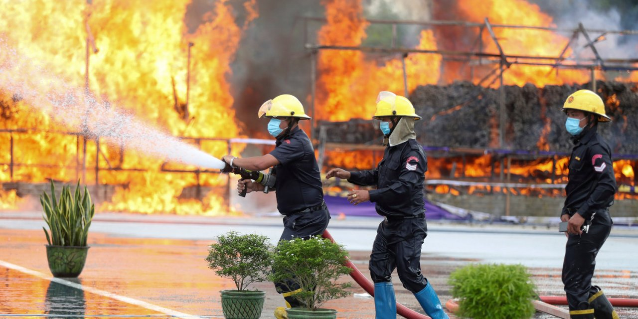 Myanmar Burns  $839 Million Seized Drugs. Fire Almost Out of Control In Downtown Yangon
