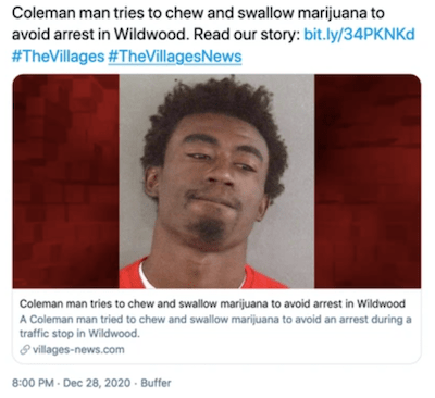 Florida man tries to eat his weed and get rid of evidence to avoid arrest