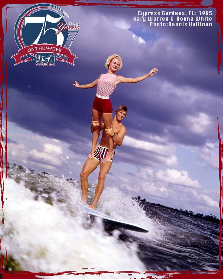Gary Warren Donna White Tandem Wakesurfing at Cypress Gardens - WHF history