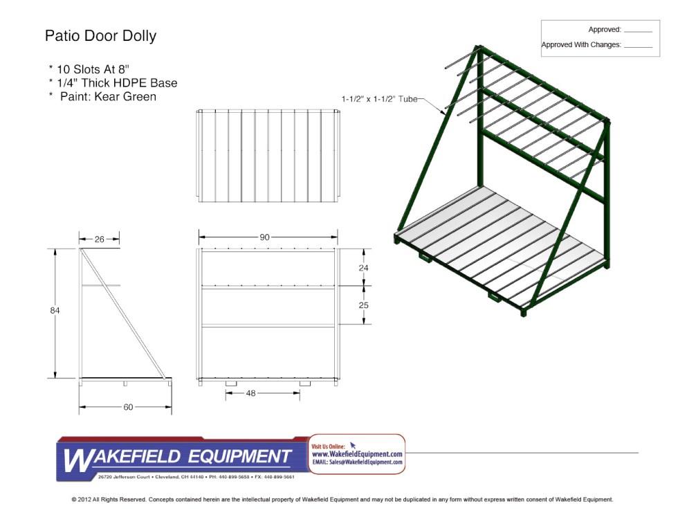 Custom Patio Door Dolly No Casters