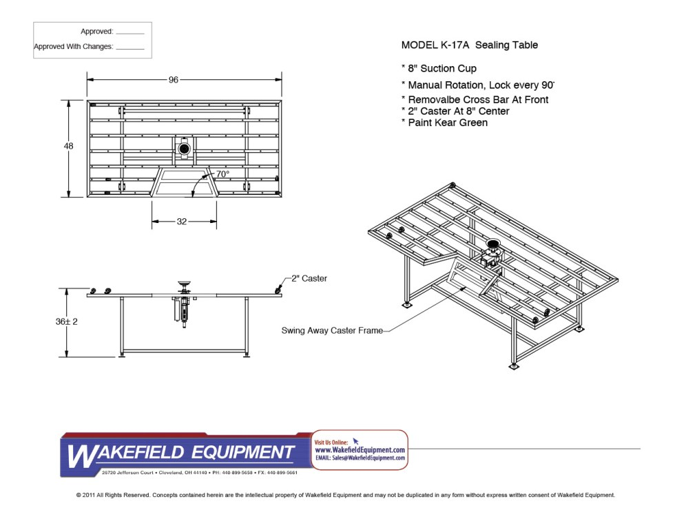 Cascade Sealing Table CAD With Man Pocket