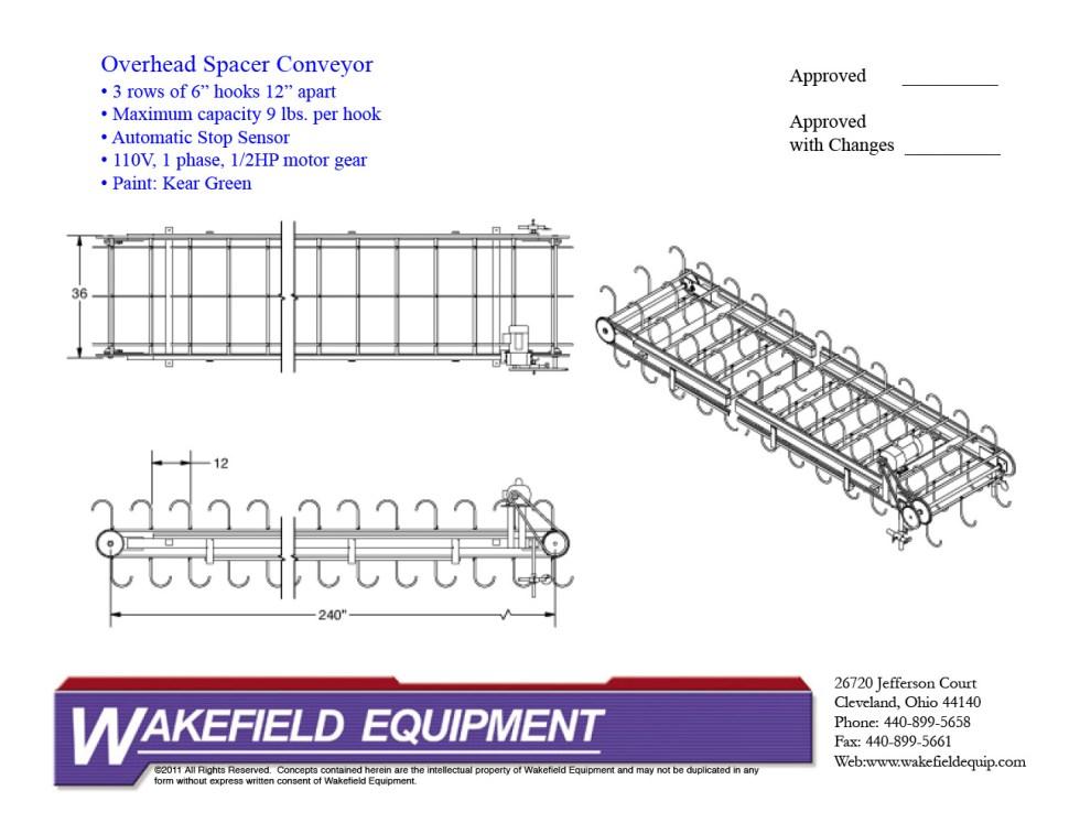 Overhead Spacer Conveyor 3 Hooks
