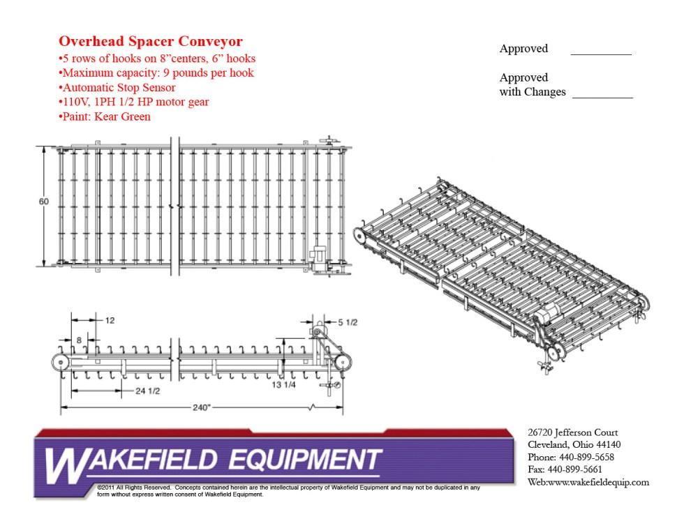 Overhead Spacer Conveyor 5′ X 20′
