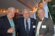 NC Sports Hall of Fame's Jack Murdock (center), with museum board member John Mitchell (right) and Dick Heidgerd.