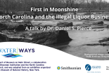 """banner for """"First in Moonshine,"""" a talk by Dan Pierce"""