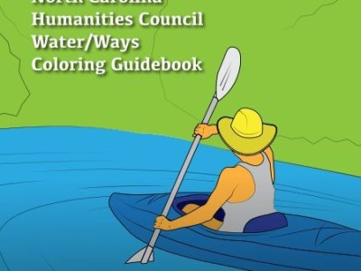 cover of coloring book. a person kayaking.