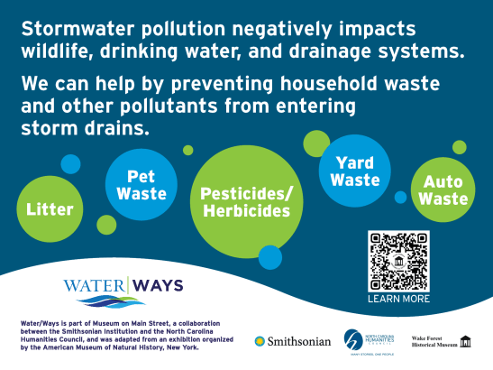 """Sign stating, """"Stormwater pollution negatively impacts wildlife, drinkin water, and drainage systems. We can help by preventing household waste and other pollutants from entering storm drains."""" The sign also includes examples like """"litter,"""" """"pet waste,"""" """"pesticides/herbicides,"""" """"yard waste"""", and """"auto waste."""""""