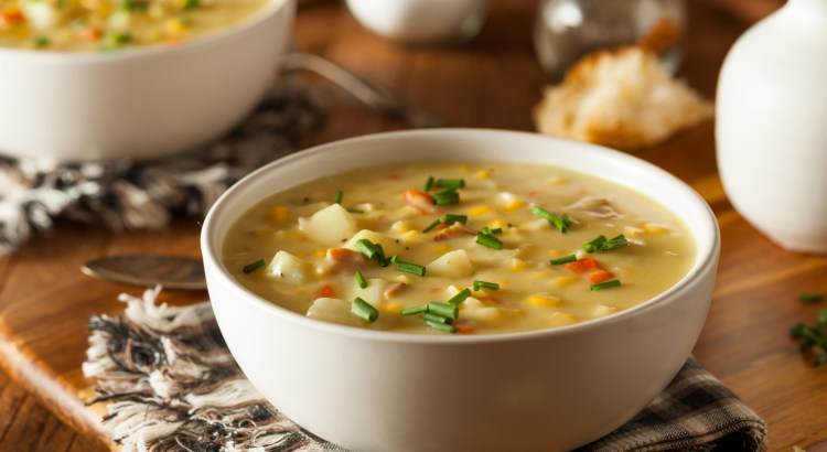 Hot Homemade Corn Chowder in a Bowl