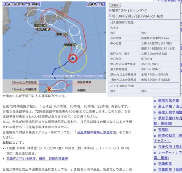 台風が接近する予報です。私の情報源を紹介しておきます。
