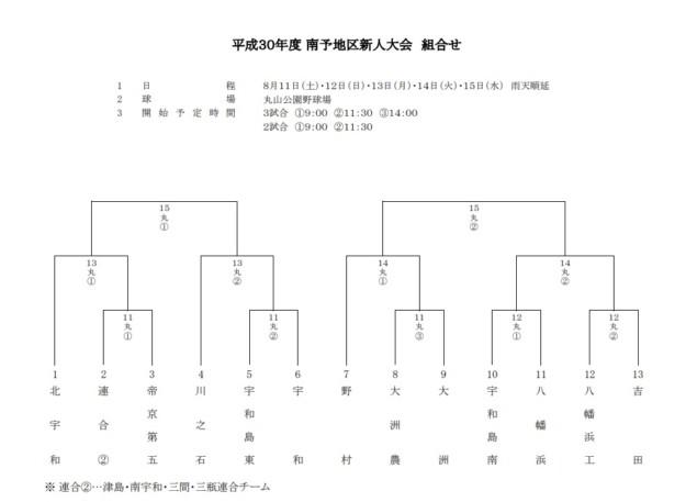 平成30年度愛媛県各地区高校野球新人大会の組み合わせが決定!