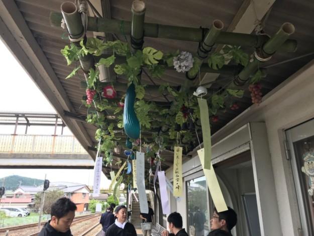 48回目?JR卯之町駅の夏の風物詩「風鈴棚」、設置完了!