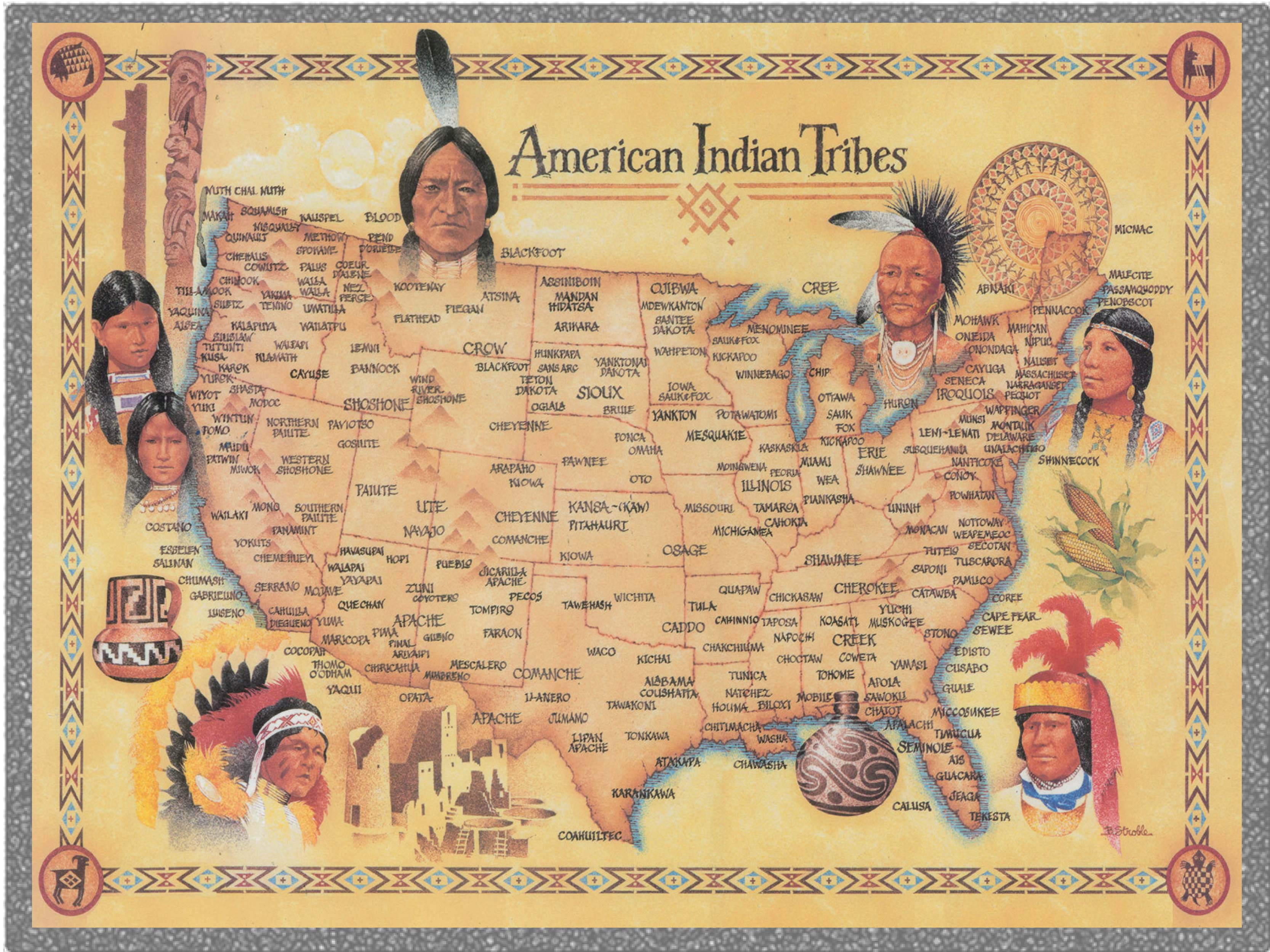Celebrating Genocide – Christopher Columbus' Conquest of America - Map of North American Indian Tribal Territories at the time of Columbus' Arrival