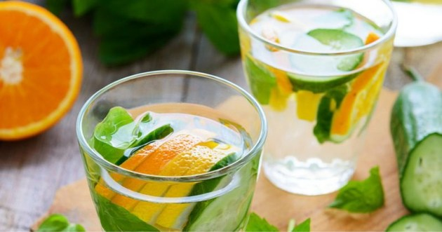 10 Detox Water Recipes to Try at Home - Orange Cucumber Rosemary and Himalayan Salt