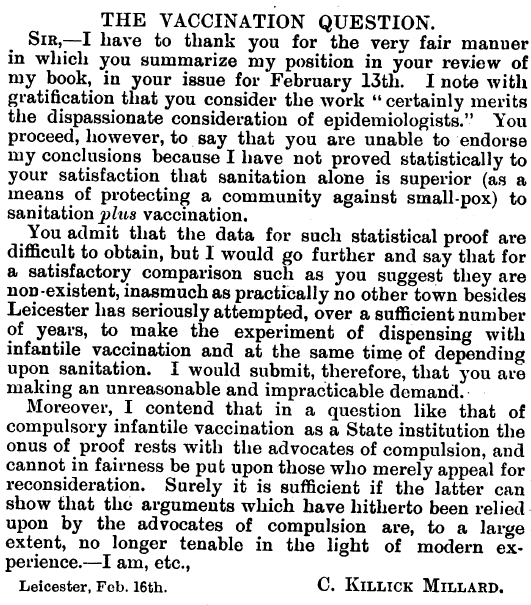 Historical Vaccine Scandals Suppressed by Medical Establishment - Killick's letter to the British Medical Journal, 1915