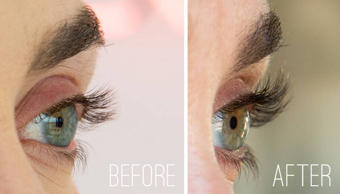 before and after results from using grandelash lash growth serum