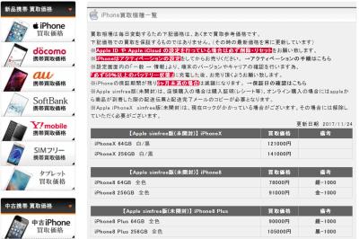 SIMフリーiPHoneXの買取価格が下がっている・・。