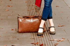 冬の女性の足
