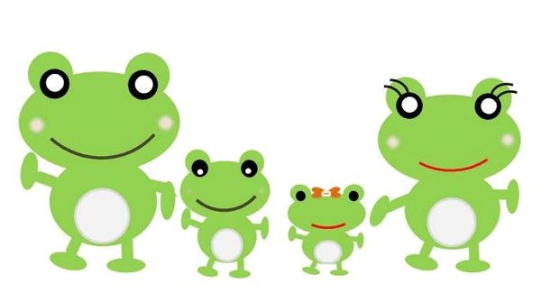家族連れのカエルのイラスト