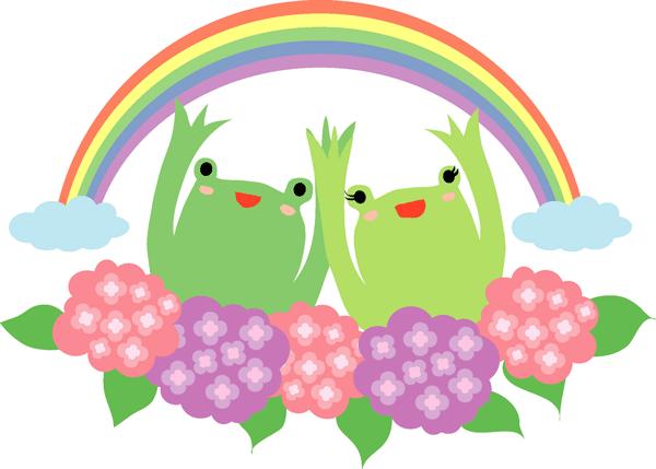 カエルと虹とあじさいのかわいいイラスト