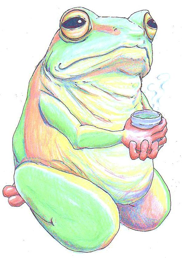 茶のみガエルの渋いイラスト