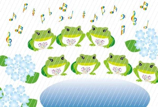 カエルが雨の中で合唱するイラスト