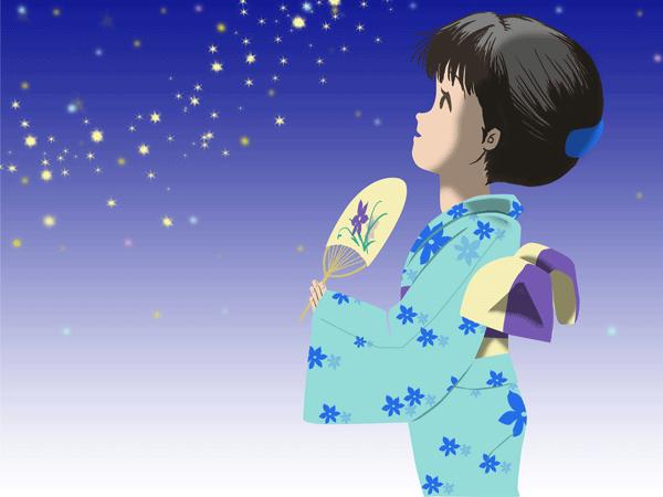 浴衣と星空のイラスト